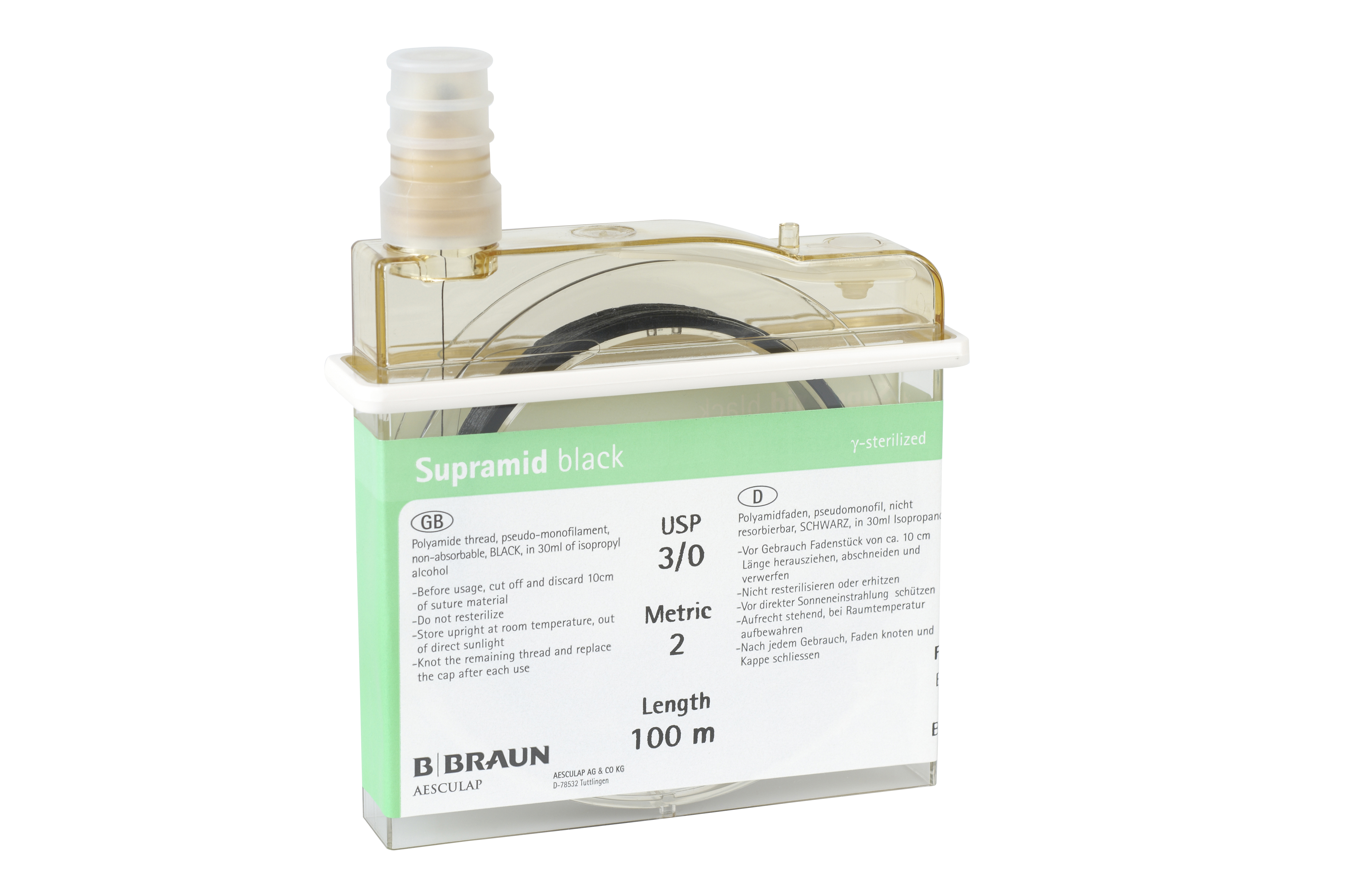Braun supramid 2/0, 100 m, sort(01194054