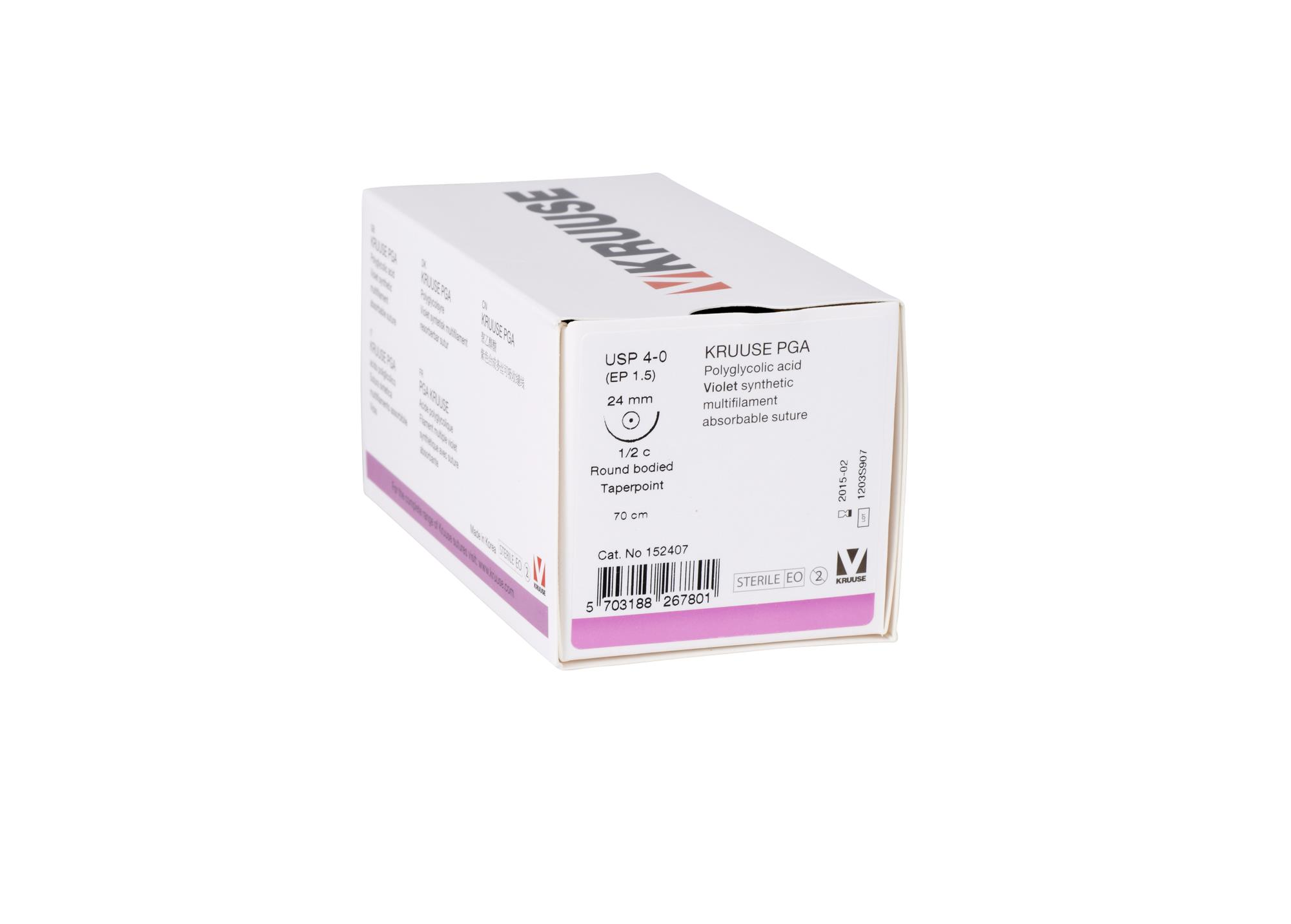 KRUUSE PGA suture, USP 4-0, 70 cm, needle: 24 mm, round bodied - taper-point, ½ circle. 18/pk