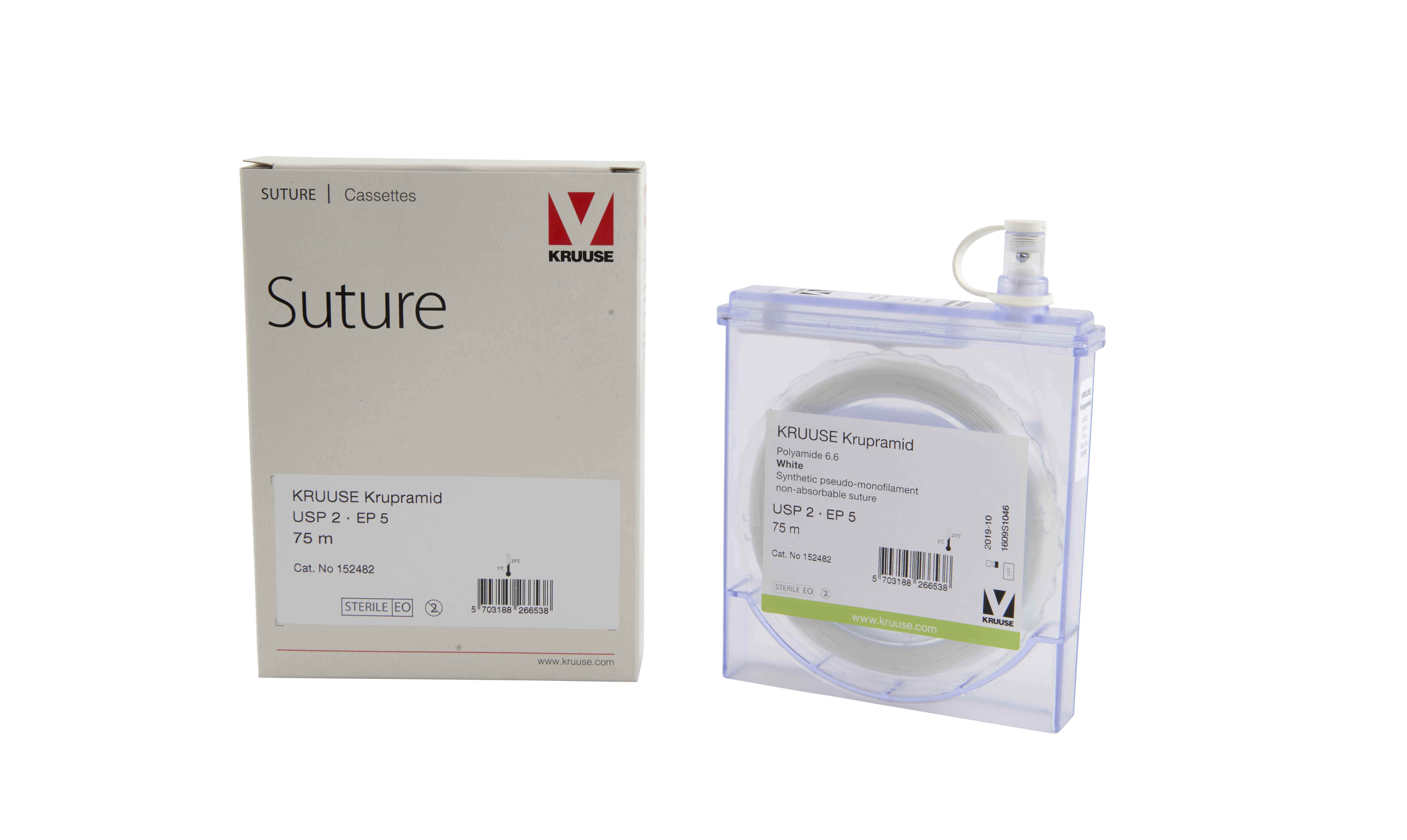 KRUUSE Krupramid suture, USP 2, 75 m