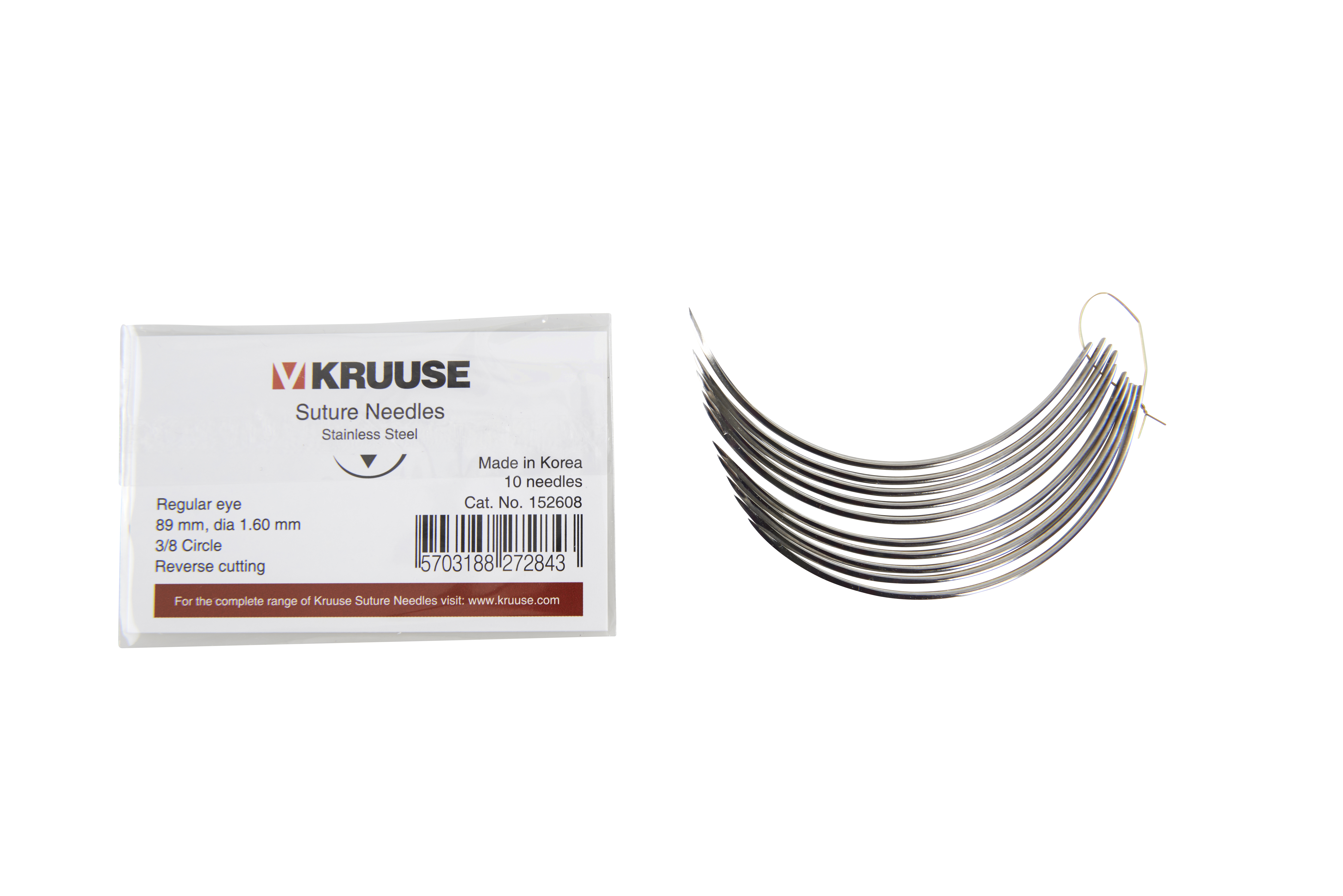 KRUUSE suture needle regular eye, 3/8 circle, reverse cutting, 89 mm (diam. 1.6 mm), 10/pk