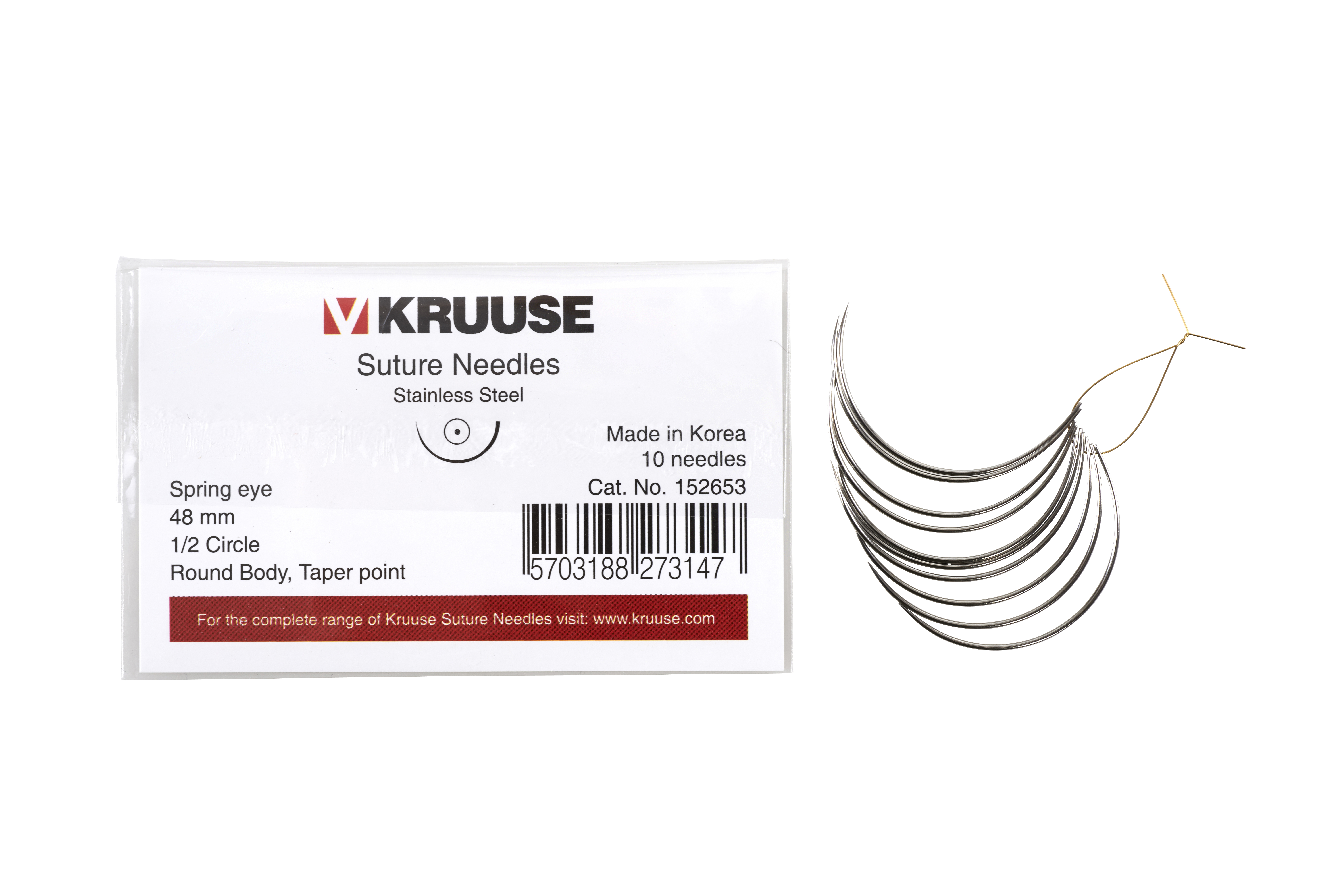 KRUUSE suture needle spring eye, 1/2 circle, round body, taper point, 48 mm, 10/pk