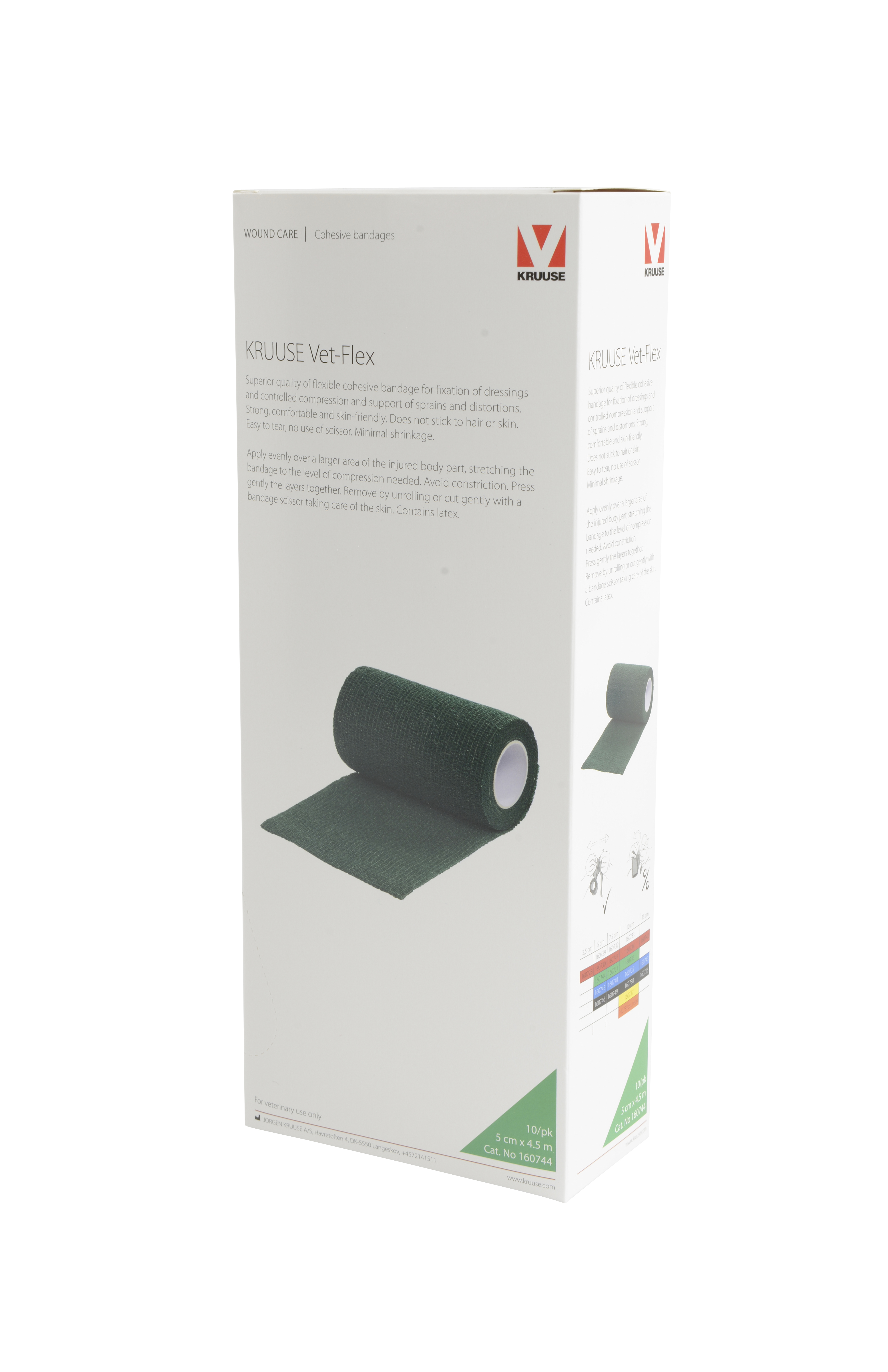 KRUUSE Vet-Flex 5 cm x 4.5 m, green, 10/pk
