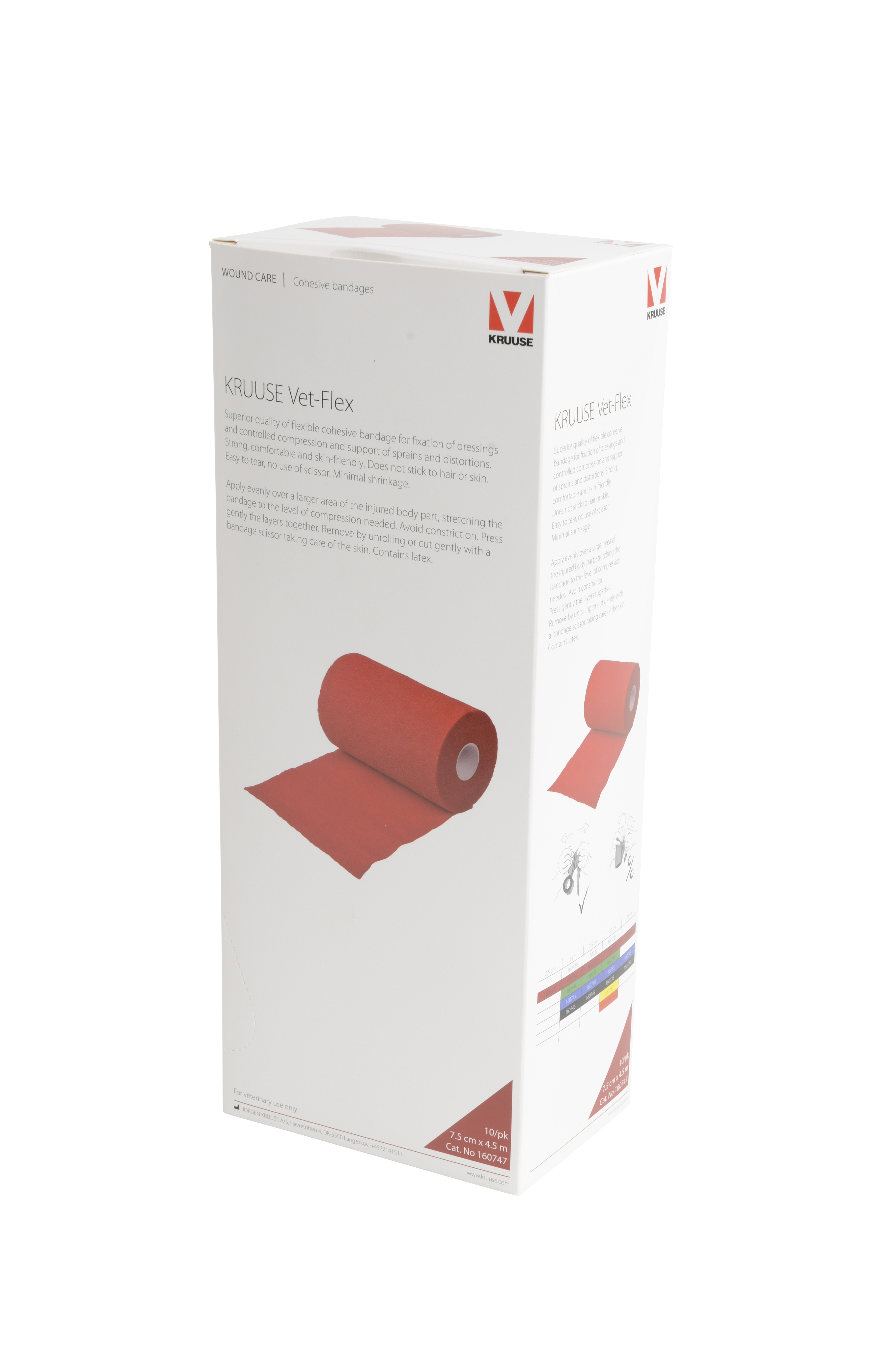KRUUSE Vet-Flex 7.5 cm x 4.5 m, red, 10/pk
