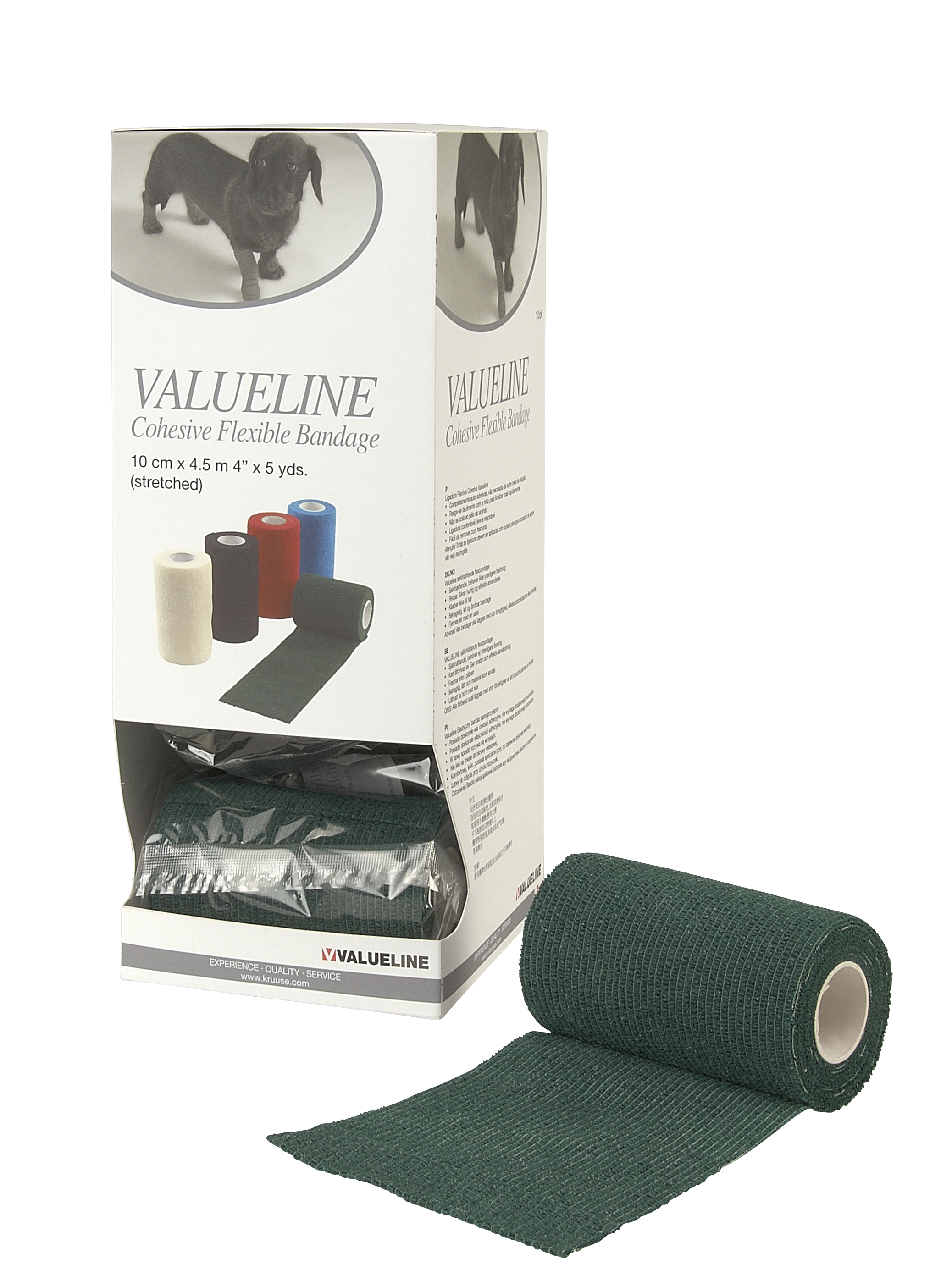 VALUELINE self-adhesive flex bandage 10cm x 4,5m, green, 10/pk