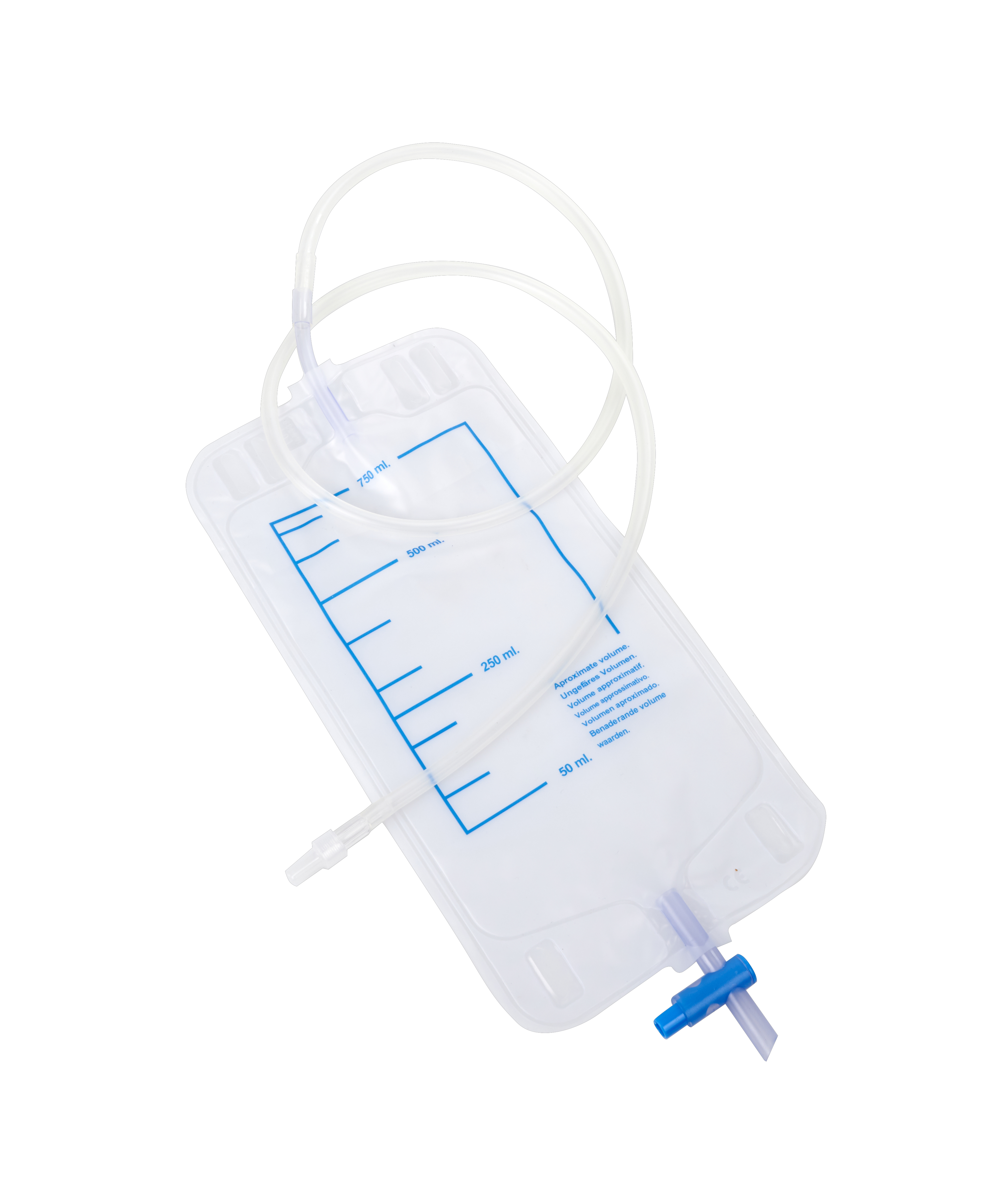 KRUUSE Urine bags, 750 ml, adapter for Foley Catheters, 10/pk