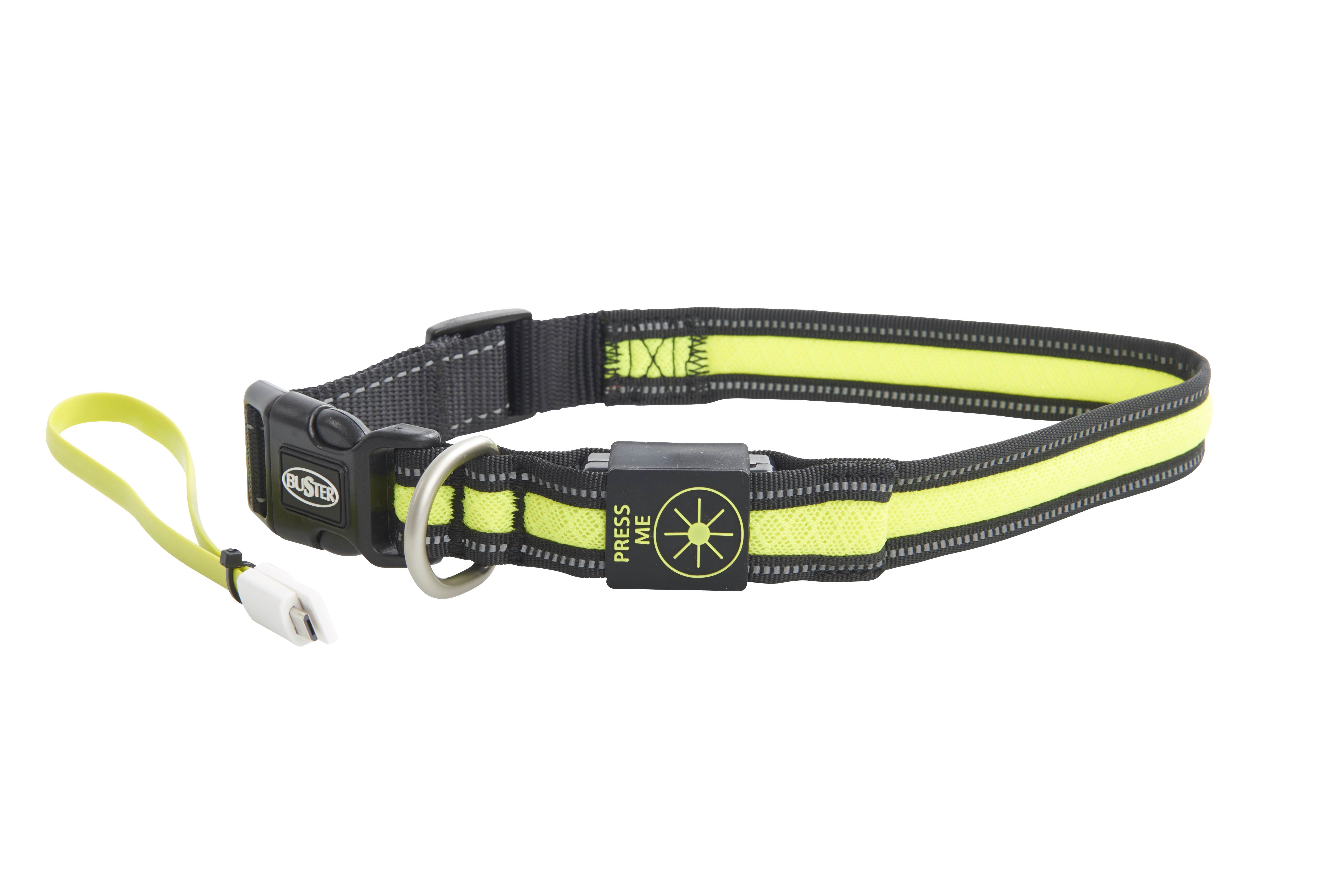 BUSTER Mesh LED Collar, Yellow, M/L (50-55 cm)