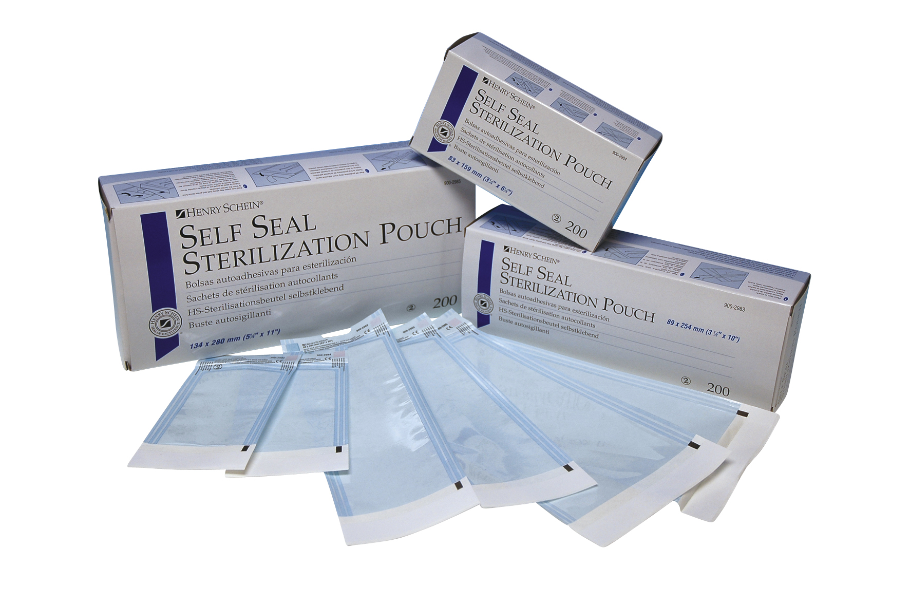 Henry Schein Autoklave Self-seal pouch, 89 x 254 mm, pk/200